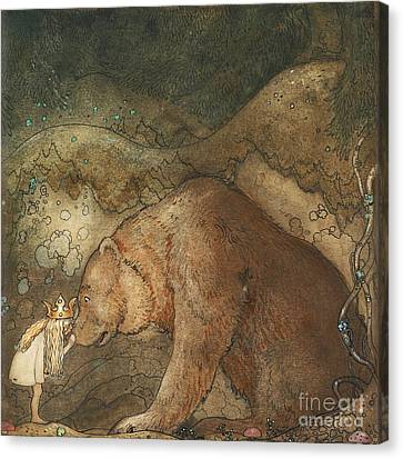Poor Little Bear Canvas Print by Celestial Images