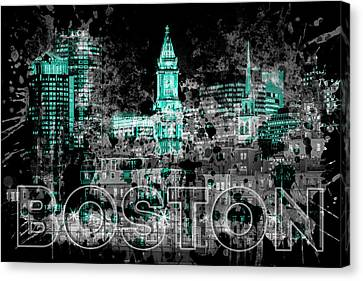 Custom House Tower Canvas Print - Pop Art Boston Skyline - Cyan by Melanie Viola