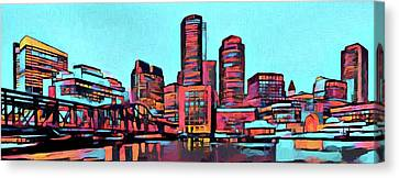 Pop Art Boston Skyline Canvas Print by Dan Sproul