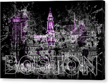 Custom House Tower Canvas Print - Pop Art Boston Skyline - Purple by Melanie Viola