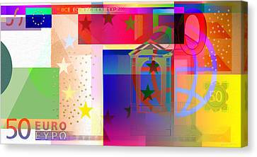 Pop-art Colorized Fifty Euro Bill Canvas Print by Serge Averbukh