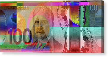 Pop-art Colorized New One Hundred Canadian Dollar Bill Canvas Print by Serge Averbukh