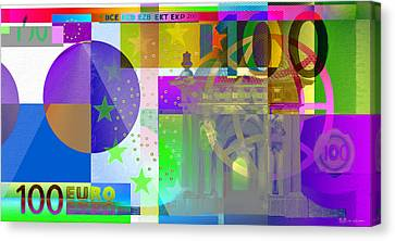 Pop-art Colorized One Hundred Euro Bill Canvas Print by Serge Averbukh