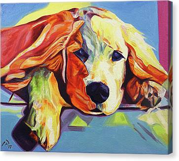 Pop Art Golden Retriever Puppy Canvas Print by Cameron Dixon