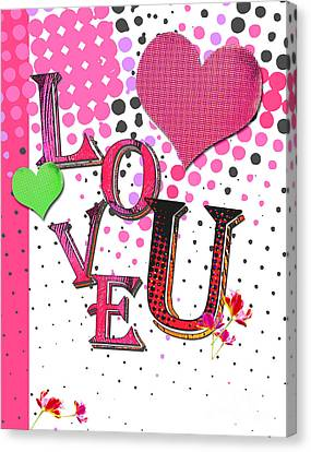 Pop Art Love You Word Art Canvas Print by WALL ART and HOME DECOR