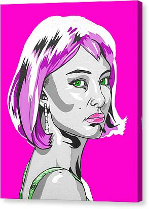 Canvas Print featuring the digital art Pop Art Portman by Sarah Crumpler