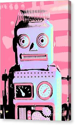 Pop Art Poster Robot Canvas Print by Jorgo Photography - Wall Art Gallery