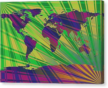 Pop Art World Map Stripes Canvas Print by Dan Sproul