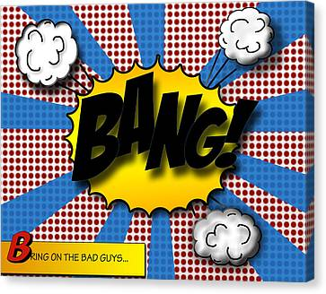 Comic Book Canvas Print - Pop Bang by Suzanne Barber