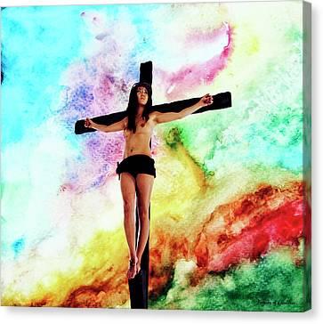 Crucifix Art Canvas Print - Pop Crucifix by Ramon Martinez