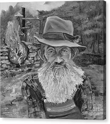 Popcorn Sutton - Black And White - Rocket Fuel Canvas Print
