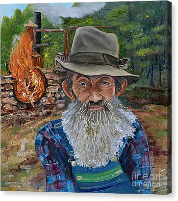 Canvas Print featuring the painting Popcorn Sutton - Rocket Fuel -white Whiskey by Jan Dappen