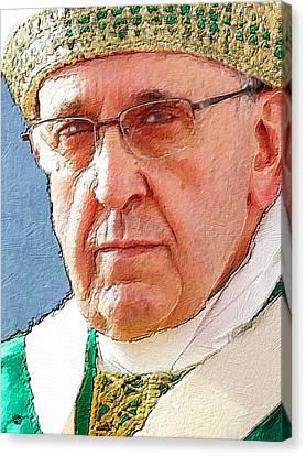 Reform Canvas Print - Pope Francis Acrylic Portrait 2 by Tony Rubino