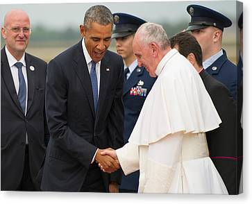 Pope Francis And President Obama Canvas Print by Mountain Dreams