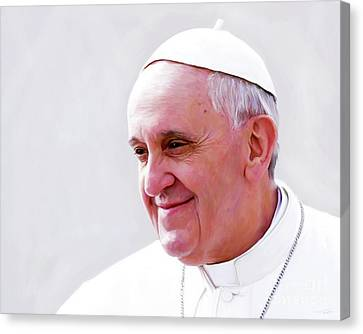 Shower Canvas Print - Pope Francis by Paul Tagliamonte