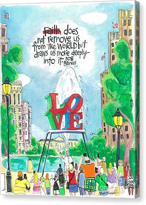 Pope Francis - Philly Love - Mmppl Canvas Print by Br Mickey McGrath OSFS