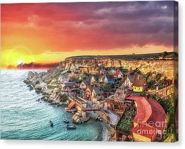 Popeye's Village At Sunset Canvas Print by Stephan Grixti
