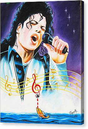 Canvas Print featuring the painting Popking Michael Jackson by Ragunath Venkatraman