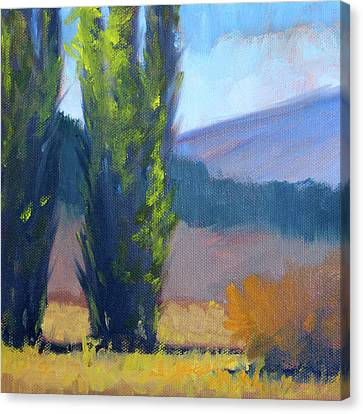 Canvas Print featuring the painting Poplars by Nancy Merkle