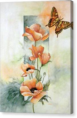 Poppies And Butterfly Canvas Print by Marti Idlet