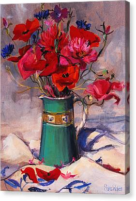 Pinks And Purple Petals Canvas Print - Poppies And Cornflowers In Green Jug by Sue Wales