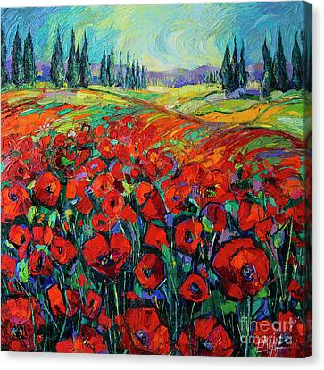 Toscana Canvas Print - Poppies And Cypresses - Modern Impressionist Palette Knives Oil Painting by Mona Edulesco