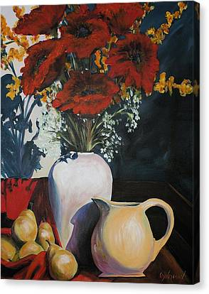 Poppies And Pears Canvas Print