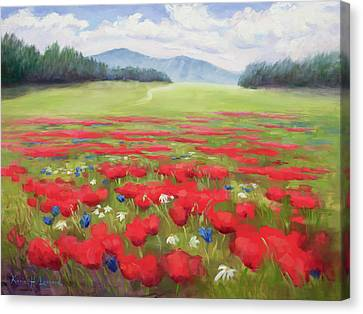 Poppies And Thunderclouds Canvas Print