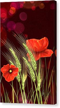 Poppies And Wheat Canvas Print