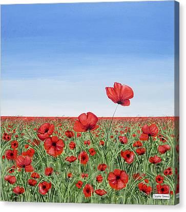 Poppies - Breakthrough Canvas Print by Jacqueline Hammond