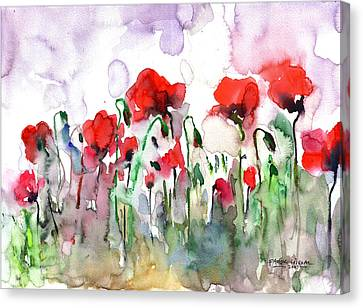 Canvas Print featuring the painting Poppies by Faruk Koksal