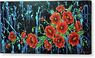 Poppies In A Modern Backgrownd Canvas Print by Gallery Nektarios
