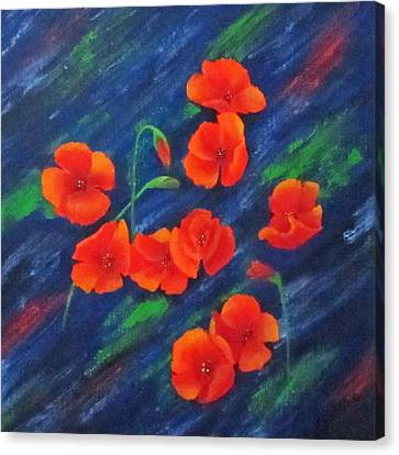 Canvas Print featuring the painting Poppies In Abstract by Roseann Gilmore