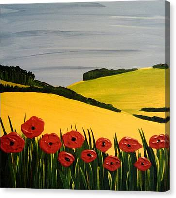 Poppies In The Hills Canvas Print by Edmund Akers