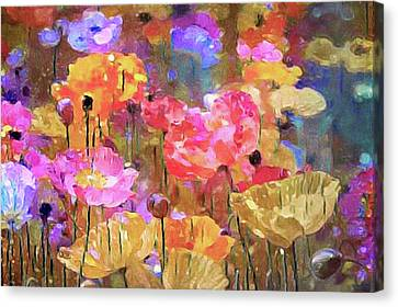 Poppies In The Meadow Canvas Print