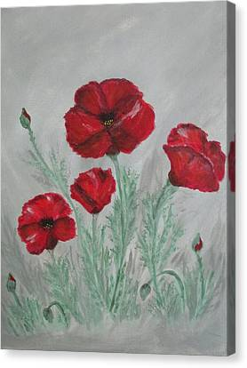 Poppies In The Mist Canvas Print by Sharyn Winters