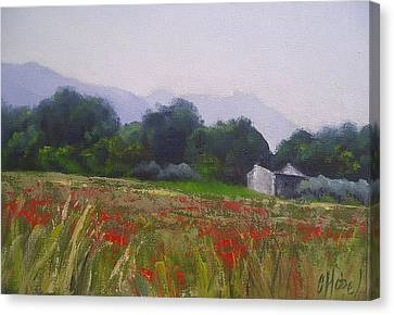 Canvas Print featuring the painting Poppies In Tuscany by Chris Hobel