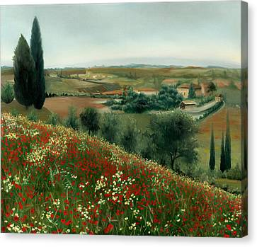 Poppies In Tuscany Canvas Print by Leah Wiedemer