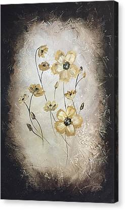 Poppies On Black Canvas Print