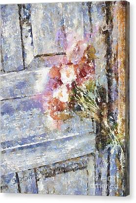 Poppies On Weathered Door Canvas Print by Shirley Stalter