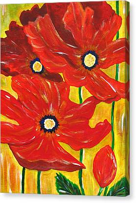 Poppies Painting  Canvas Print by Linda Larson