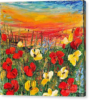 Canvas Print featuring the painting Poppies by Teresa Wegrzyn