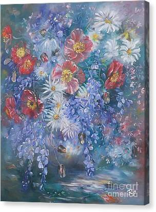 Poppies, Wisteria And Marguerites Canvas Print