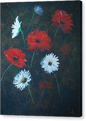 Canvas Print featuring the painting Poppin Daisies by Leslie Allen