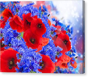 Poppy And Cornflower Flowers Canvas Print by Anastasy Yarmolovich