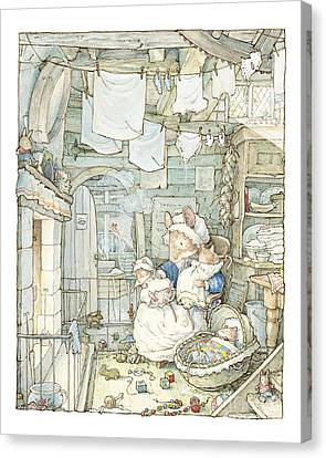 Countryside Canvas Print - Poppy And Her Babies Sit By The Fire by Brambly Hedge