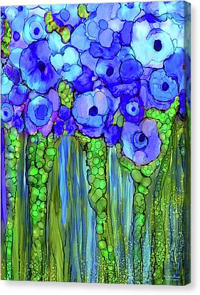 Poppy Bloomies 1 - Blue Canvas Print