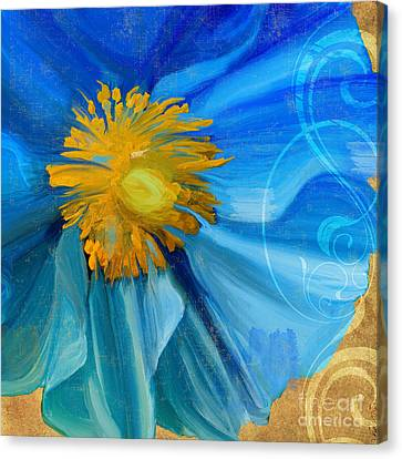 Poppy Blues I Canvas Print by Mindy Sommers