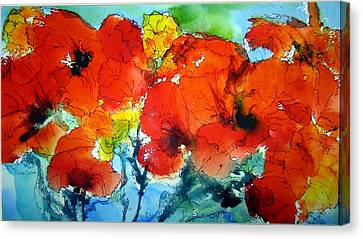 Poppy Bouquet Canvas Print by Anne Duke