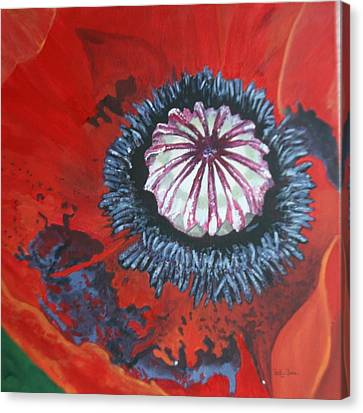 Canvas Print featuring the painting Poppy Centre by Betty-Anne McDonald